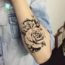 Rocooart New Sketch Rose Vodotěsné Fake Tattoo Taty Pro ženy Dámské Dočasné Tattoo Samolepky Back Arms Flash Tatoo Henna Tatuaje
