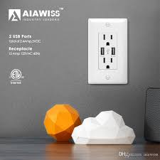 aiawiss awus004 smart dual usb charger 2 4a 12w ultra high sd 2 receptacles 15a 125v usb wall set white black usb wall socket ultra high sd
