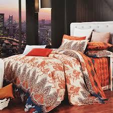 orange duvet cover queen burnt brown and beige western paisley park print bohemian 17