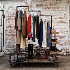 industrial atmosphere hangers and shelves of shoes build shoe rack itself diy and furniture ideas build industrial furniture