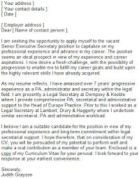 sample secretary covering letter
