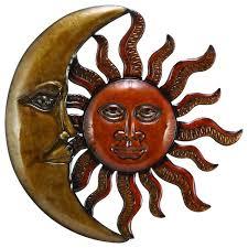 new age metal sun crescent moon wall art gold orange accent decor
