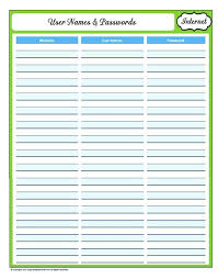passwords template password list template username and password template printable logs