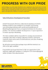 Sales Business Development Executive At Laugfs Holdings