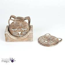 cat coffee table sass belle rustic carved wooden animal coaster set home gift black cat coffee table
