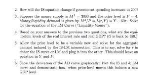 solve for the equation of the is curve investment savings from the original consumption investment and government spending functions
