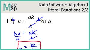 kuta algebra 1 literal equations part 2