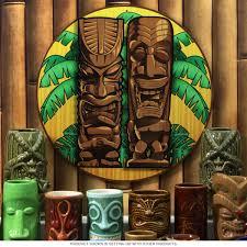 home wall decor vintage style signs tiki gods hawaiian round metal sign zoom on tiki bar metal wall art with tiki gods round metal sign tiki bar signs retroplanet