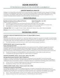 Sample Resume For Financial Analyst Entry Level New Graduate Resume