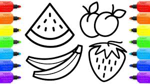 Drawing For Kids 8 Fruit Coloring Pages How To Draw Watermelon Apple
