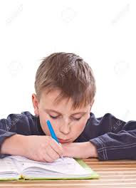 Student To Do Homework At A Table On A White Background Stock        RF com Stock Photo   student to do homework at a table on a white background
