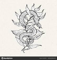 иллюстрация змея ветке татуировка стиль векторное изображение