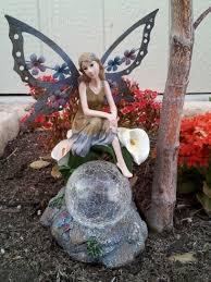 color changing solar garden lights. Solar Garden Lights Fairy With Metal Wings And Color Changing Gazing Ball. I