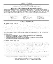 Sewing Machine Mechanic Resume
