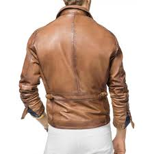 men s biker designer tan brown leather jacket