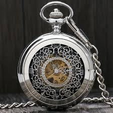 online buy whole engravable pocket watches from stylish beautiful silver engraving grilles hand winding mechanical pocket watch men women pendnat fob chain