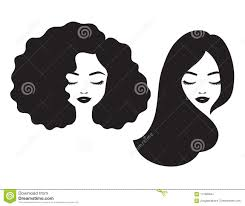 Beautiful Woman Face And Hair Silhouette Vector Illustration Stock