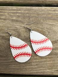 home accessories bags earrings faux leather baseball earrings
