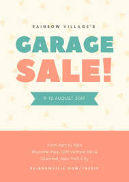 Teal And Coral Triangle Confetti Village Yard Sale Flyer Templates