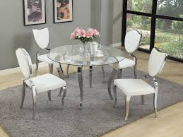Modern Glass Dining Table Trend Round Glass Dining Table With White Chairs 79 For Your