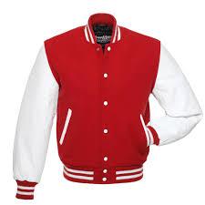 jacket kids scarlet red wool white leather varsity