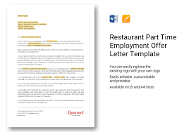 Restaurant Part Time Employment Offer Letter Template In