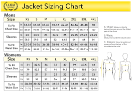 Standard Sizing Guide Luca Designs