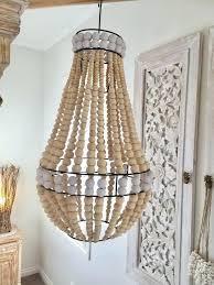 wooden bead chandelier pendant light shade hanging lamp boho