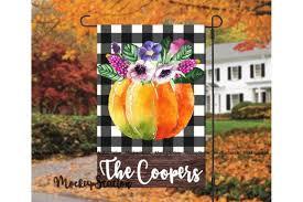 fall pumpkin garden flag design graphic