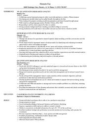 Quantitative Research Analyst Resume Samples   Velvet Jobs