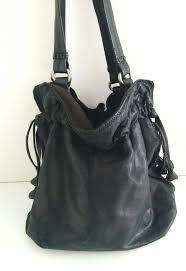 lucky brand italian lamb leather bucket purse shoulder bag drawstring tote black luckybrand shoulderbag