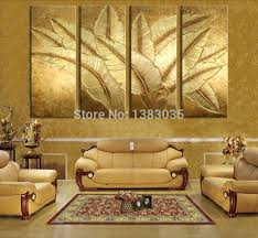 gold wall art on canvas hand painted gold japanese banana leaf oil painting modern abstract 4 piece canvas art wall decor on 4 piece metal wall decor with wall art designs gold wall art on canvas hand painted gold japanese