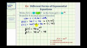 ex rewrite exponential functions y ab t to y ae kt