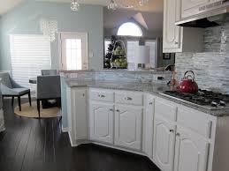 Wood Floor Kitchens Light Blue Kitchen Dark Cabinets White Cabinets In Kitchen Light