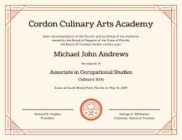 Cooking Certificate Template Extraordinary Culinary Arts Diploma Certificate Templates By Canva