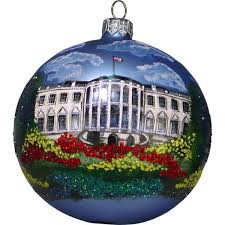 Handblown glass Christmas ornaments of the White House rendered on a round  ball in all its glory, and Washington DC on the back.