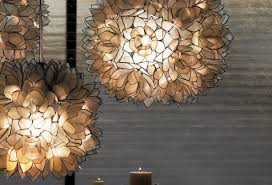 of modern pendant lamp design and decoration using hanging black flower ornament lotus capiz chandelier wonderful lighting accessories with snaps
