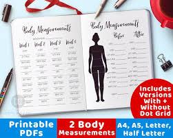 2 Body Measurement Tracker Printables Bullet Journal Body Measurement Chart Weight Loss Tracker Body Measurement Planner Fitness Planner