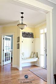 best yellow paint colour benjamin moore ermilk oak flooring country style foyer