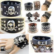details about men goth rock punk genius leather cuff bracelet studded spike bangle black brown