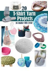 collage image of 20 diffe tshirt yarn projects to make including baskets jewelry bags