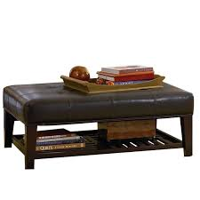 coaster faux leather coffee table