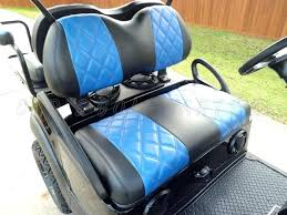 golf cart seat covers ezgo upholstery black with blue diamond pattern carbon fiber inserts 1995 ez