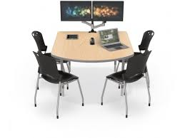shown with optional monitor mount arms and pop up power strip