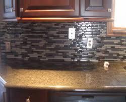 Interesting Small Kitchen Decoration Using Black Glass Tile Kitchen Enchanting Kitchen Backsplash With Granite Countertops Decoration