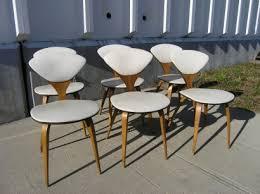 cherner furniture. set of six vintage side chairs by norman cherner for plycraft furniture