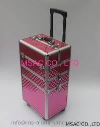 china three layers aluminum makeup trolley case with pink color supplier