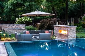 Swimming Pool:Beautiful Backyard Pool Landscaping With Outdoor Brick Stone  Fireplace And Grey Leather Sofa