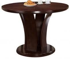 crown mark daria counter height round pedestal table in espresso 2734t 54