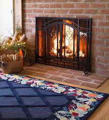 our two door fireplace screens have beveled glass panelesh screening so you can watch